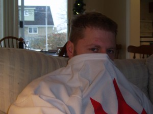 Kevin hiding underneath his Team Canada Jersey-his favorite!